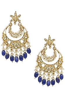 Gold plated kundan and navy blue beaded chandbali earrings by BELSI'S JEWELLERY