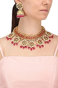 Gold Finish Kundan and Ruby Red Pearl Necklace Set