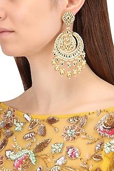 Gold Finish Kundan and Gold Pearl Drop Chandbali Earrings by Belsi's Jewellery
