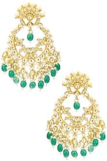 Gold Finish Kundan, Gold Pearl and Green Moti Chandbali Earrings by Belsi's Jewellery