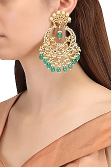 Gold Finish Kundan, Gold Pearl and Green Moti Chandbali Earrings by Belsi's Jewellery