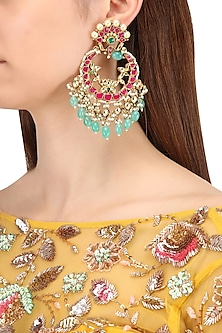Gold Finish Multi-Colour Kundan, Pearl and Green Moti Chandbali Earrings by Belsi's Jewellery