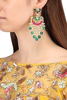 Gold Finish Multi-Colour Kundan, Pearl and Green Moti Earrings