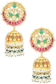 Gold Finish Multi-Colour Kundan, Pearl and Green Moti Jhumki Earrings by Belsi's Jewellery