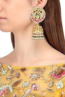 Gold Finish Multi-Colour Kundan, Pearl and Green Moti Jhumki Earrings by Belsi's Jewellery