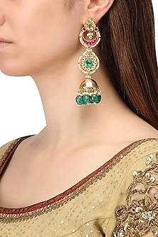 Gold Finish Three Layer Kundan, Pearl and Moti Jhumki Earrings by Belsi's Jewellery