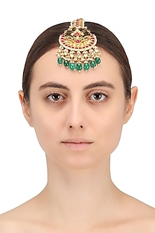 Gold Finish Multi-Coloured Kundan and Pearls Crescent Maangtika by Belsi's Jewellery