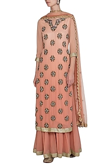 Peach Ombre Gota Sharara Set by Bhumika Grover