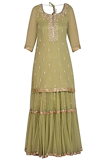 Pistachio Green Embroidered Sharara Set by Bhumika Grover