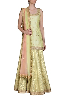 Lime Green & Peach Embroidered Printed Lehenga Set by Bhumika Grover
