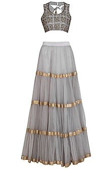 Grey Embroidered Layered Lehenga Set by Bhumika Grover