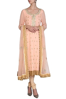 Rose Pink Embroidered Anarkali Set by Bhumika Grover