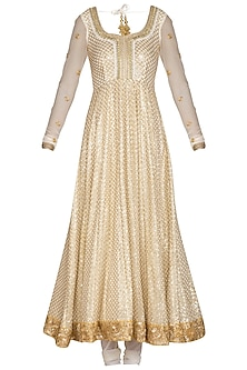 Ivory Embroidered Anarkali Set by Bhumika Grover