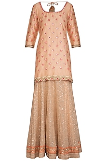 Peach Embroidered Sharara Set by Bhumika Grover