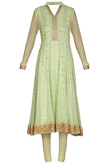 Mint Green Mukaish Anarkali With Dupatta by Bhumika Grover