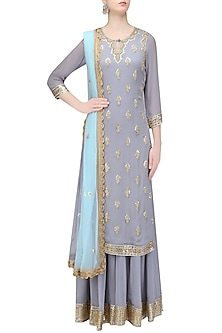 Grey Gota Patti Embroidered Kurta with Sharara Pants by Bhumika Grover