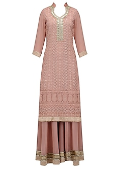 Nude Lucknowi and Mirror Work Kurta and Sharara Pants Set by Bhumika Grover