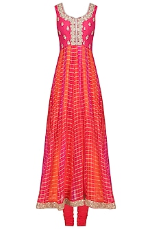 Red and Pink Kundan Embroidered Checkered Anarkali Set