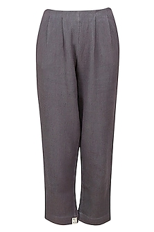 Grey Straight Fit Dobby Pants