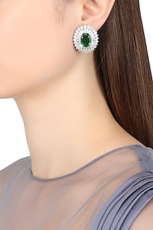 Rhodium Finish Emerald Semi Precious Stone Stud Earrings by BEJEWELED