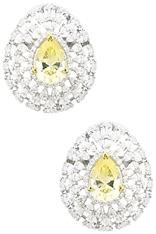 Rhodium Finish Zircons and Yellow Diamond Stud Earrings by BEJEWELED