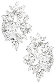 Rhodium Finish Zircons and Oval Stone Stud Earrings by BEJEWELED
