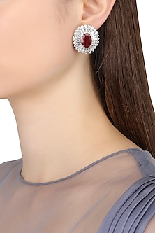 Rhodium Finish Zircons and Ruby Stone Stud Earrings