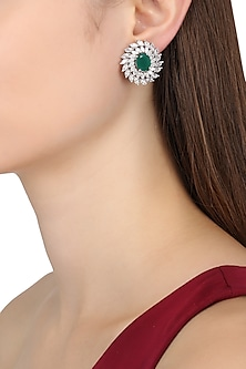 Rhodium Finish Zircons and Emerald Stone Stud Earrings