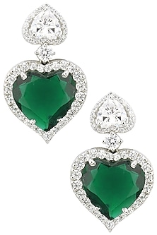Rhodium Finish Heart Shaped Emerald Earrings by BEJEWELED