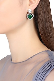 Rhodium Finish Heart Shaped Emerald Earrings