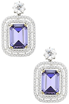 Rhodium Finish Zircons and Purple Stone Drop Earrings by BEJEWELED