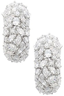 Rhodium Finish Different Shape Diamonds Balis by BEJEWELED