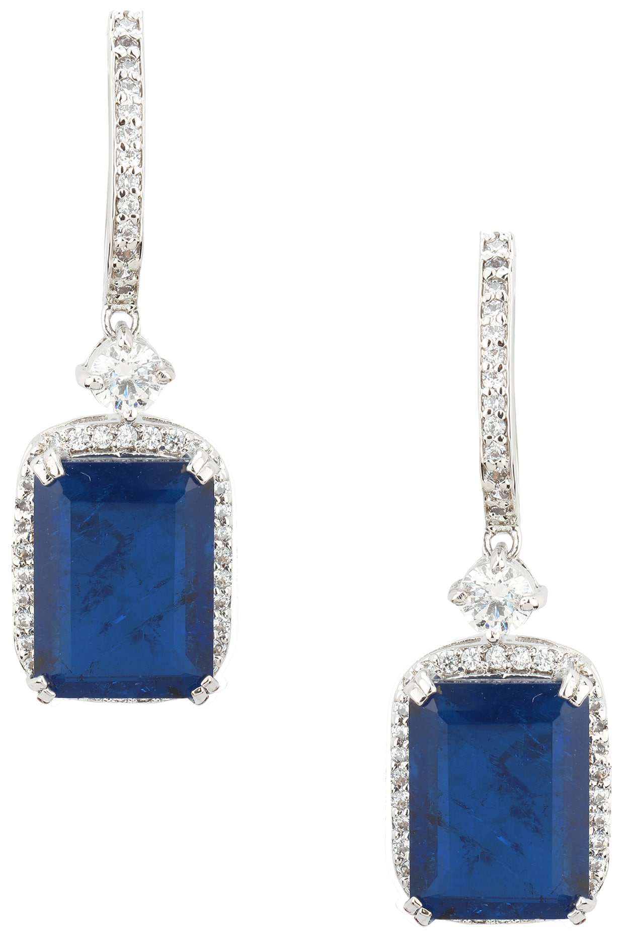 e4ce2fad4 Rhodium finish blue stone dangler earrings available only at ...