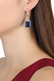 Rhodium Finish Blue Stone Dangler Earrings by BEJEWELED