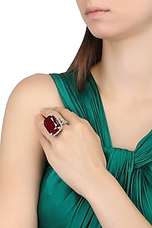 Rhodium Finish Zircons and Ruby Cocktail Ring