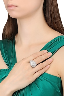 Rhodium Finish Marquise Cocktail Ring by BEJEWELED