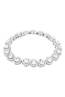 Rhodium Finish Heart and Round Shape Solitares Bracelet by BEJEWELED