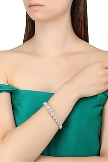 Rhodium Finish Heart and Round Shape Solitares Bracelet