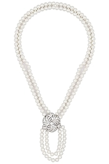 Rhodium Finish Zircons Broach Necklace by BEJEWELED