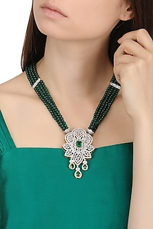Rhodium Finish Zircons and Green Stones Necklace