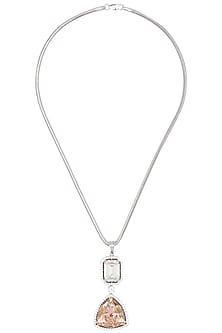 Rhodium Finish Swaroski Crystal Chain Necklace by BEJEWELED