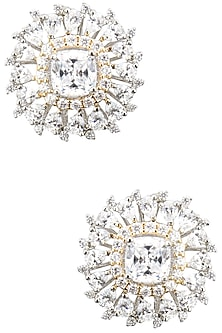 Rhodium Plated Zircons Studs by BEJEWELED