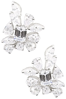 Rhodium Finish Paan and Emerald Cut Stone Earrings by BEJEWELED