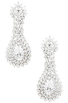 Rhodium Finish Pear Shaped Earrings by BEJEWELED