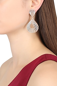 Rhodium Finish Rose Gold Touch Earrings by BEJEWELED