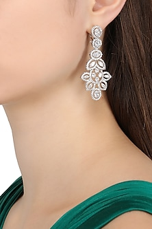 Rhodium Finish Asymmetric Earrings by BEJEWELED