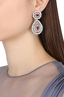 Rhodium Finish Zircons and Ruby Earrings by BEJEWELED