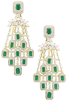 Gold Finish Zircons and Semi Precious Stone Earrings by BEJEWELED