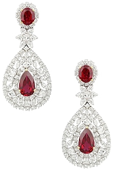 Rhodium Finish Zircons and Ruby Drop Earrings by BEJEWELED