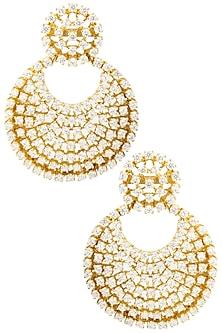 Gold Finish Zircons Chandbali Earrings by BEJEWELED